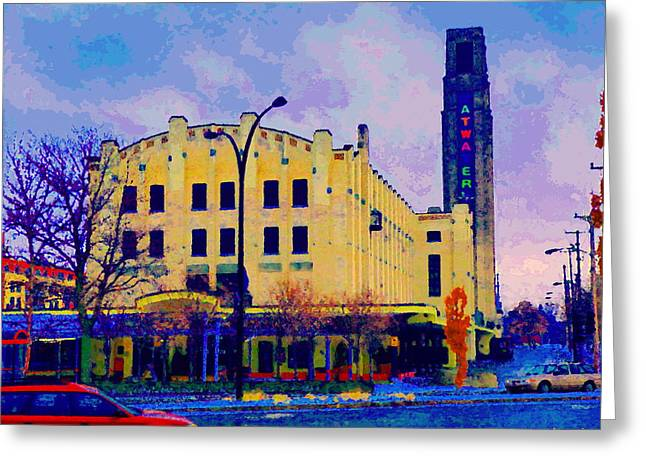 Atwater Greeting Cards - View Of Atwater Market Near Lachine Canal Lionel Groulx  Metro Montreal Urban Scenes Carole Spandau Greeting Card by Carole Spandau