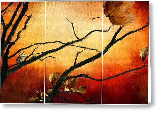 Owl Decor Greeting Cards - View Of Autumn Greeting Card by Lourry Legarde