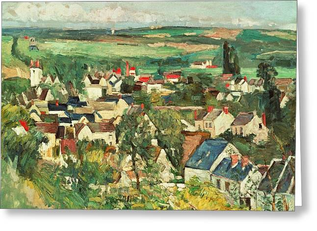 France 1874-1886 Greeting Cards - View of Auvers from above Greeting Card by Paul Cezanne