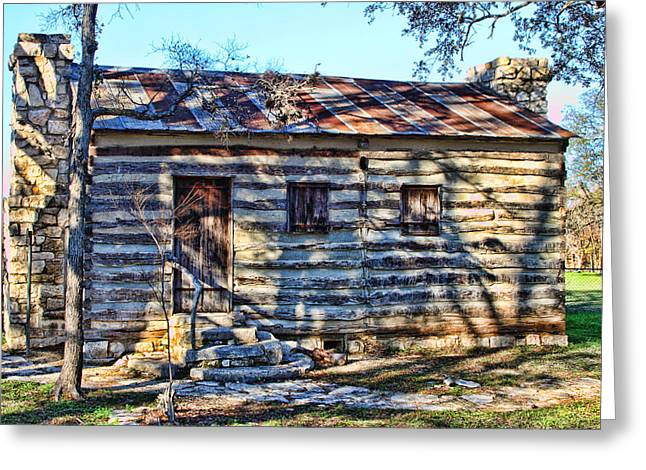 Altered Architecture Greeting Cards - View of Back of 1860 Log Cabin Greeting Card by Linda Phelps