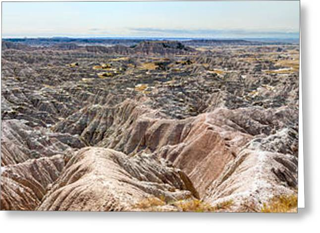 View Of Badlands National Park, South Greeting Card by Panoramic Images