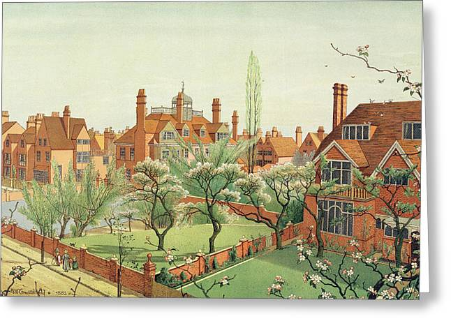 Fence Drawings Greeting Cards - View Of Bedford Park Greeting Card by English School