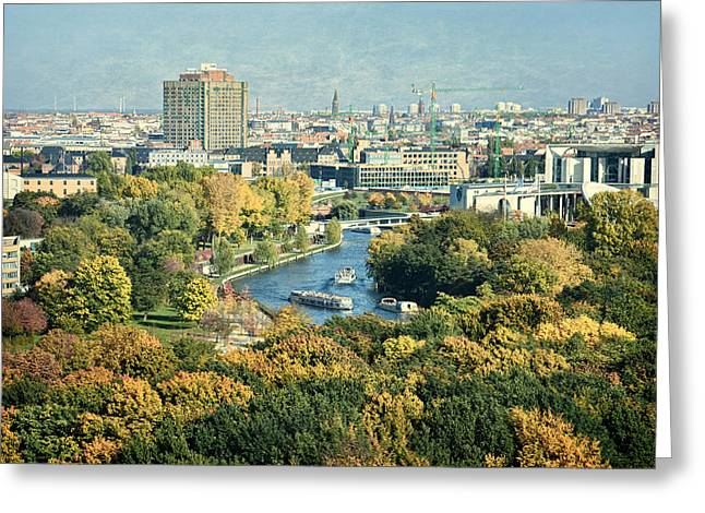 Europe Mixed Media Greeting Cards - View of Berlin / Autumn Greeting Card by Gynt