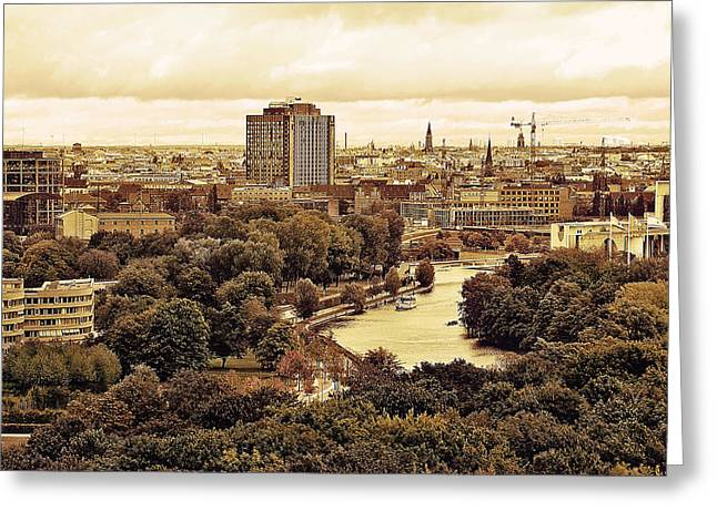 Europe Mixed Media Greeting Cards - View of Berlin Greeting Card by Gynt