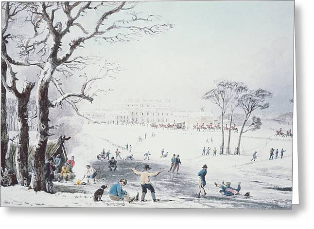 Prints Drawings Greeting Cards - View of Buckingham House and St James Park in the Winter Greeting Card by John Burnet