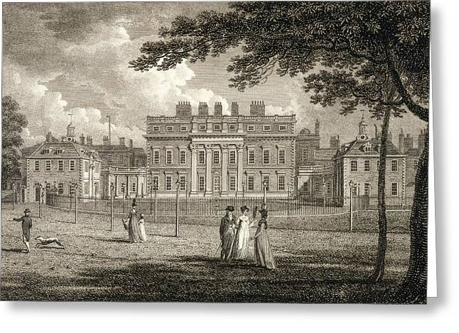 Buckingham Palace Greeting Cards - View Of Buckingham House, Engraved Greeting Card by Edward Dayes