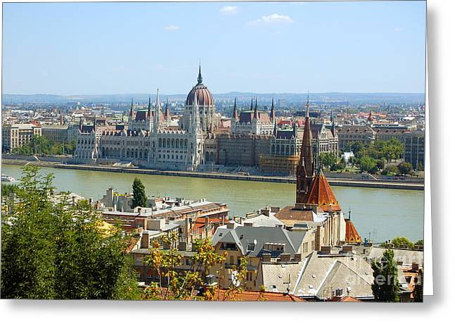 Outlook Greeting Cards - View of Budapest  Greeting Card by Michal Bednarek