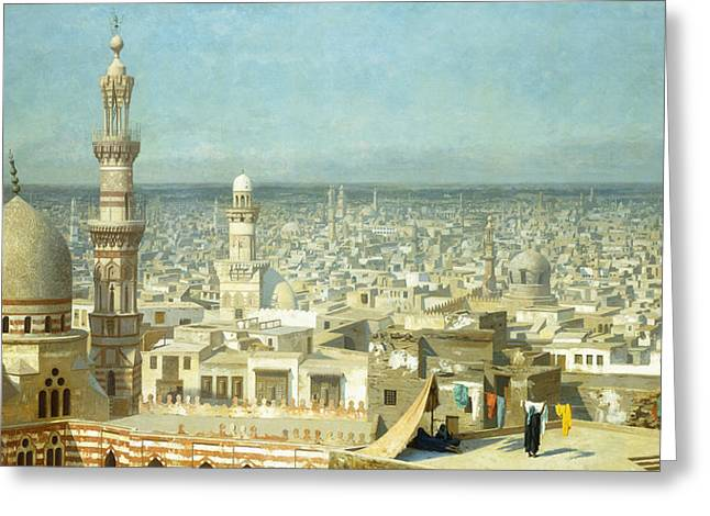 Four People Greeting Cards - View of Cairo Greeting Card by Jean Leon Gerome