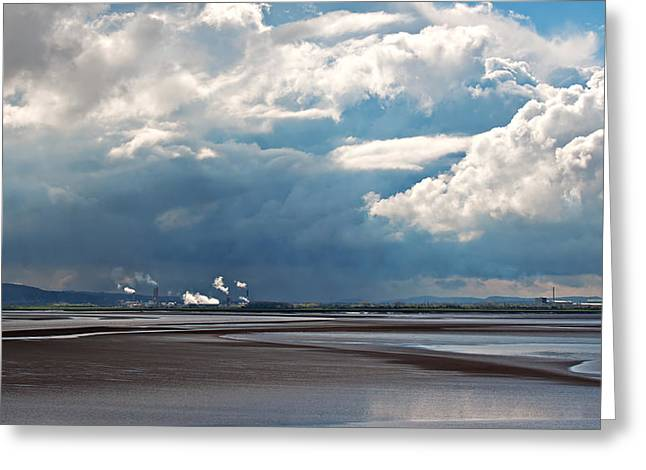 Power Plants Greeting Cards - View of chemical plant across river 7 Greeting Card by Ken Biggs