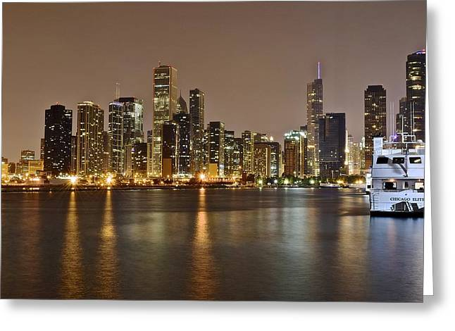 The Bean Greeting Cards - View of Chicago from Navy Pier Greeting Card by Frozen in Time Fine Art Photography