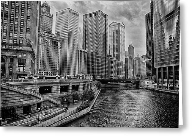 View. Chicago Greeting Cards - View of Chicago River Greeting Card by Mike Burgquist