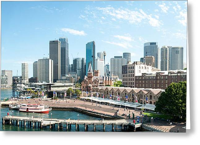 View Of Circular Quay And Downtown Greeting Card by Panoramic Images