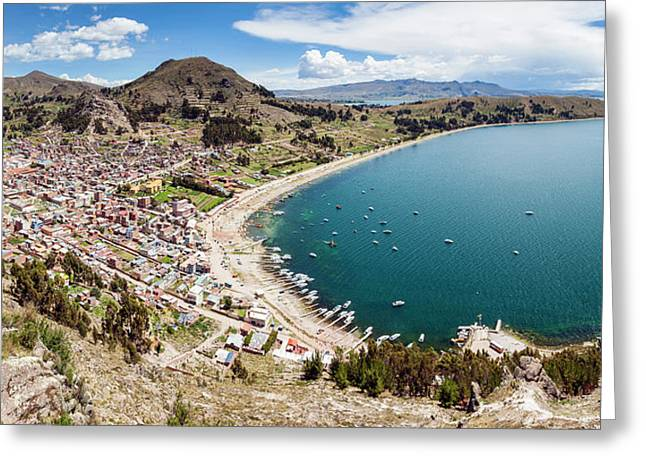 View Of Copacabana And Lake Titicaca Greeting Card by Panoramic Images