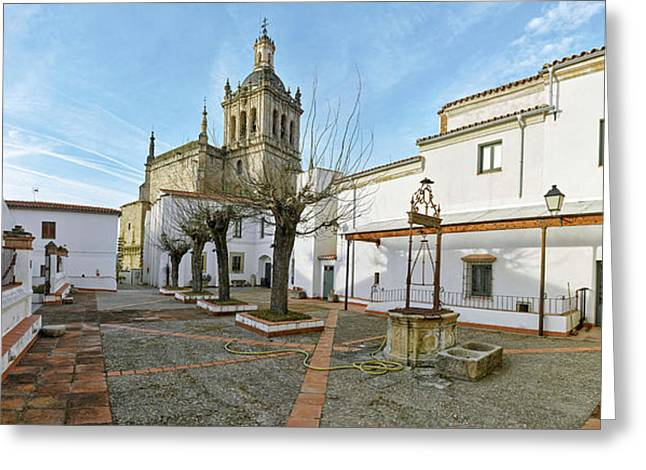 View Of Coria Cathedral From Worship Greeting Card by Panoramic Images
