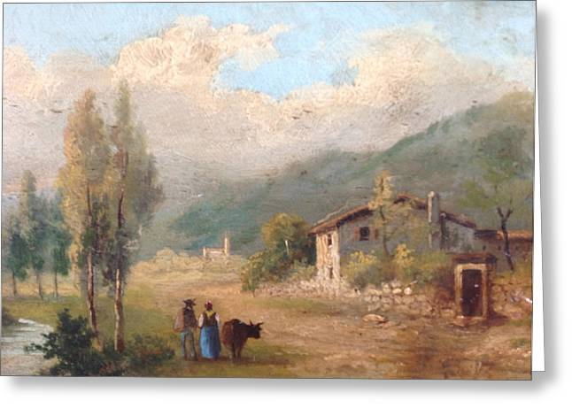 Couple With House Greeting Cards - View of countryside Greeting Card by Egidio Graziani