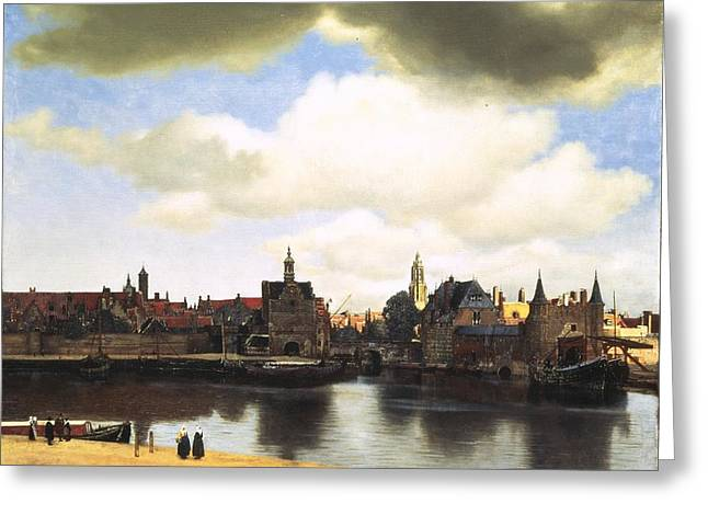 Vermeer Paintings Greeting Cards - View of Delft Vermeer Greeting Card by Johannes Vermeer