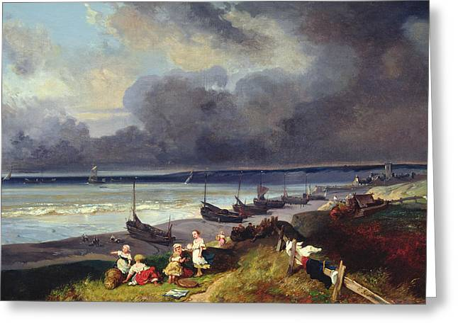 View Of Dieppe Greeting Card by Louis Eugene Gabriel Isabey