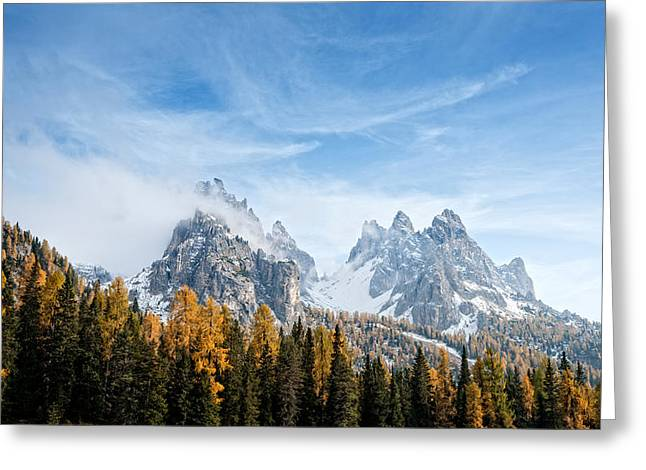Fall Colors Greeting Cards - View Of Dolomite Mountains In Fall Greeting Card by Panoramic Images