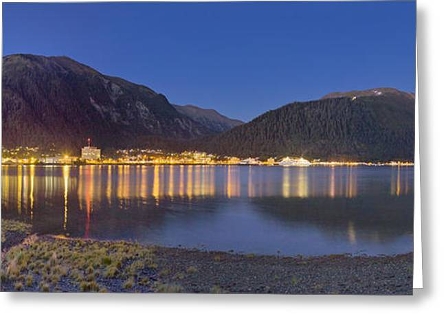 Evening Lights Greeting Cards - View Of Downtown Juneau From Douglas Greeting Card by Kevin Smith