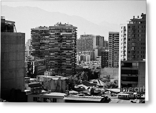 Santa Lucia Mountains Greeting Cards - view of downtown santiago and barrio lira in the smog from cerro santa lucia hill Santiago Chile Greeting Card by Joe Fox