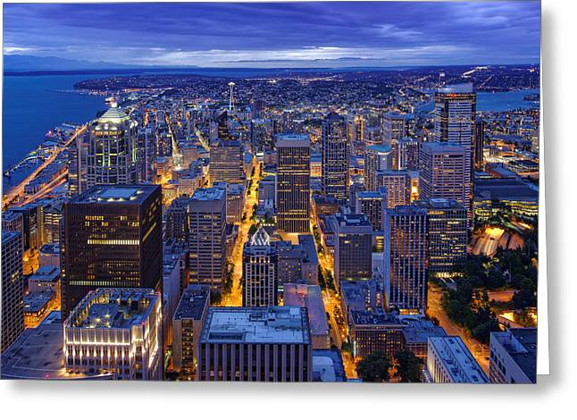 5th Avenue Place Greeting Cards - View of Downtown Seattle Skyline from Columbia Tower Skyview Observatory - Seattle Washington Greeting Card by Silvio Ligutti