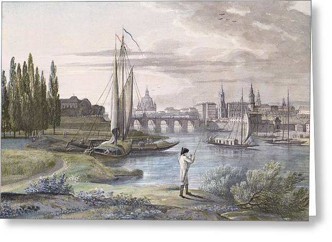 Angling Drawings Greeting Cards - View Of Dresden And The River Elbe, 1806 Greeting Card by C. Roes