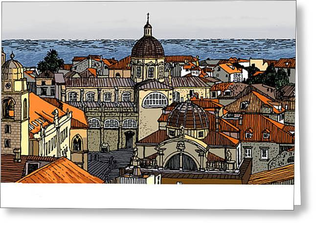 Europe Mixed Media Greeting Cards - View of Dubrovnik Greeting Card by David Burkart