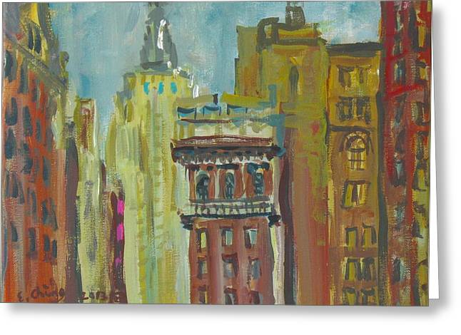 Bryant Paintings Greeting Cards - View of Empire State 2 Greeting Card by Edward Ching