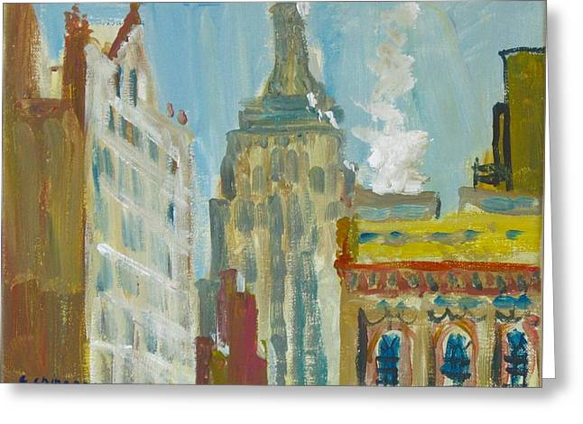 Bryant Paintings Greeting Cards - View of Empire State 3 Greeting Card by Edward Ching