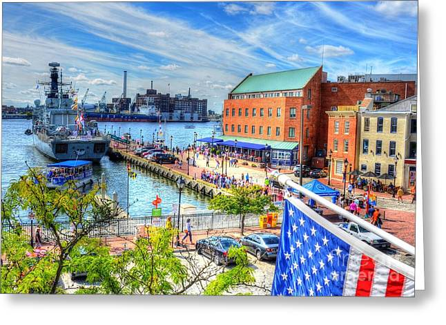 Maryland Flag Greeting Cards - View of Fells Point Greeting Card by Debbi Granruth