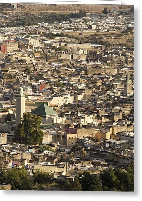African Heritage Greeting Cards - View of Fes Morocco Greeting Card by Martin Turzak