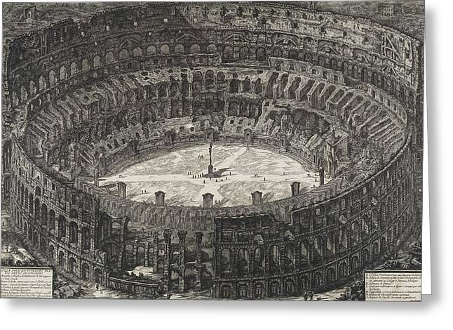 Ancient Ruins Drawings Greeting Cards - View of Flavian Amphitheater called the Colosseum Greeting Card by Giovanni Battista Piranesi