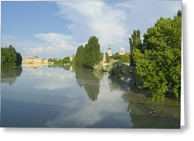 River Flooding Greeting Cards - View of Flooded Gyor Town at Sunset Greeting Card by Ferenc Kosa