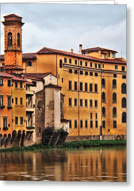 Firenza Greeting Cards - View of Florence Along the Arno River Greeting Card by Greg Matchick
