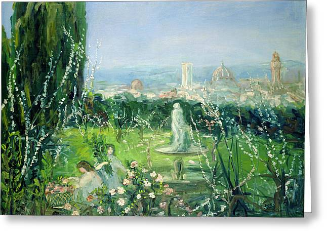 Picking Greeting Cards - View Of Florence, C.1909 Oil On Canvas Greeting Card by Pierre Laprade