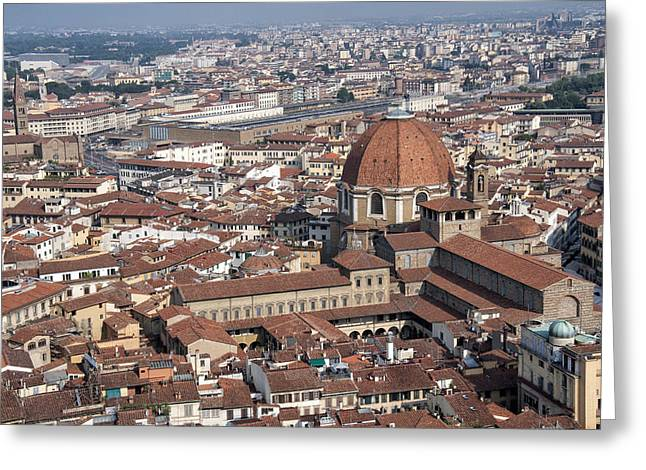 Michelangelo Greeting Cards - View of Florence from Brunelleschis Dome Greeting Card by Melany Sarafis