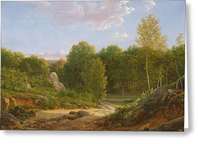 Verdant Greeting Cards - View Of Fontainebleau Forest, 1829 Oil On Canvas Greeting Card by Jean Joseph Xavier Bidauld