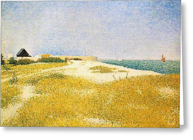 Seurat Greeting Cards - View of Fort Samson Greeting Card by Georges Seurat