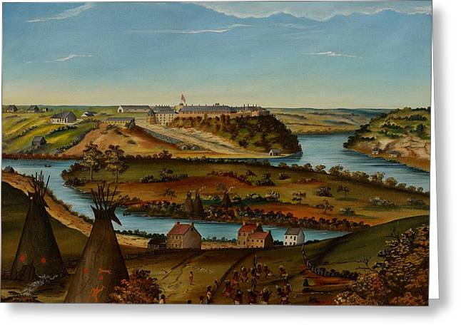 Encampment Greeting Cards - View of Fort Snelling Greeting Card by Edward K Thomas