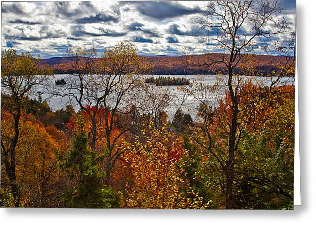 View Of Fourth Lake Above Eagle Bay Greeting Card by David Patterson