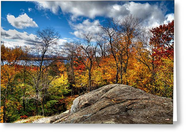 Aderondacks Greeting Cards - View of Fourth Lake from the Eagle Bay Rocks Greeting Card by David Patterson