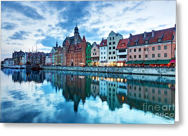 Polish Culture Greeting Cards - View of Gdansk old town and Motlawa river Poland at sunset Greeting Card by Michal Bednarek