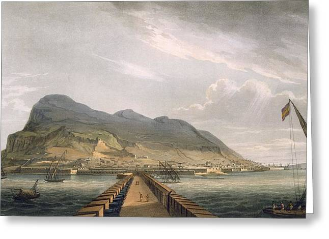 Harbor Drawings Greeting Cards - View Of Gibraltar Greeting Card by Thomas Whitcombe