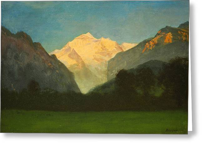 Amazing Sunset Paintings Greeting Cards - View of Glacier Park or Sunset on Peak Greeting Card by Albert Bierstadt