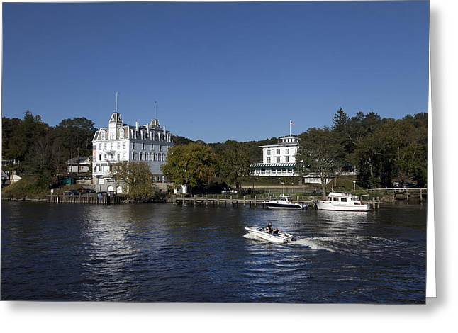 East Haddam Connecticut Greeting Cards - View of Goodspeed Opera House in East Haddam  from the Connecticut Rive Greeting Card by Carol M Highsmith