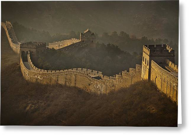 Great Mysteries Photographs Greeting Cards - View Of Great Wall China Greeting Card by Alex Adams