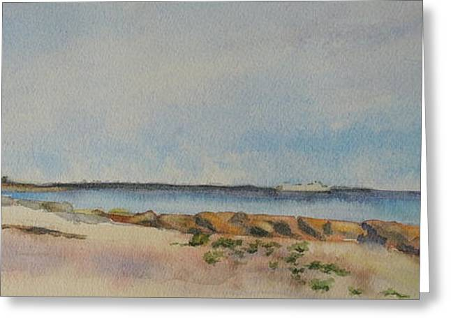 New England Ocean Greeting Cards - View of Harkness Park from Seaside Waterford CT Greeting Card by Patty Kay Hall