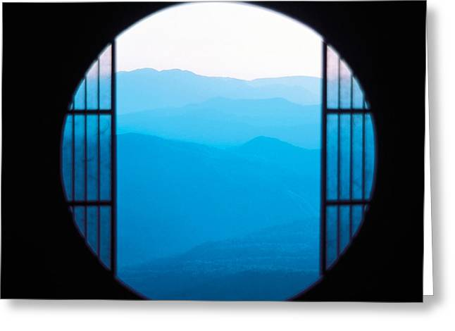 View Of Hazy Blue Mountain Ranges Greeting Card by Panoramic Images