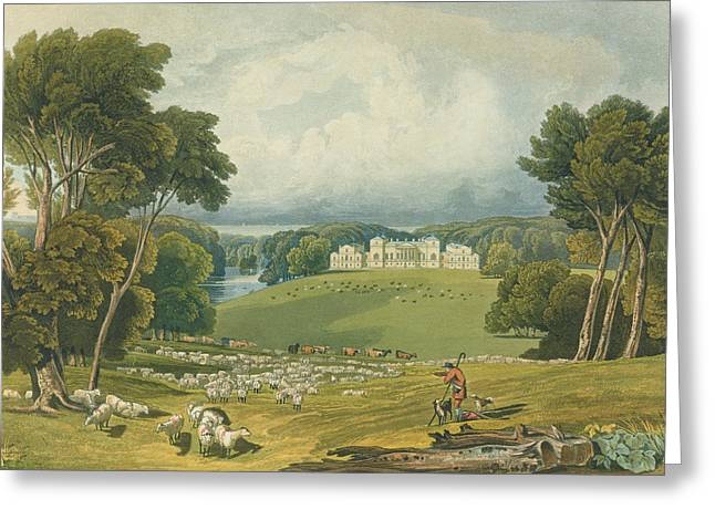 Neo Greeting Cards - View Of Holkham Hall, Norfolk, Engraved Greeting Card by Elizabeth Blackwell