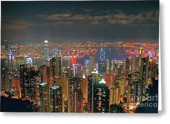 View Of Hong Kong From The Peak Greeting Card by Lars Ruecker